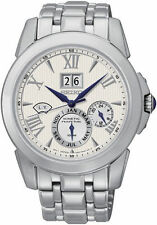 Seiko Kinetic Ivory Dial Stainless Steel Chronograph Mens Watch SNP065