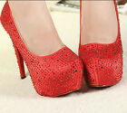 High Heels Crystal Shoes Party Girl Glitter Platform bride diamond wedding