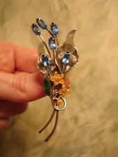 Vintage Large 3'' Sterling Blue Rhinestone Orange Enamel Flower Pin Brooch  Mint