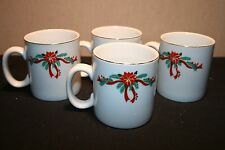 Set 4 Fine China Poinsettia and Ribbons Christmas Coffee Cups/Mugs