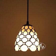 Tiffany Style Small Window Ceiling Lamp Stained Glass E27 Light Bead Pendant