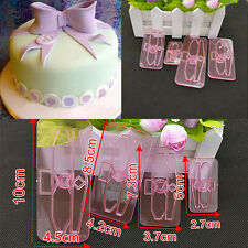 Plastic Bow Cake Cutter Decor Mold Icing Cookie Biscuit Fondant Embosser 4Pcs