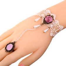 Pink Rose Flower White Cameo Lace Silver Plated Chain Ring Bracelet