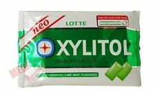 Lotte Xylitol Chewing Gum Sugar Free Artificial Lime Mint 12g.