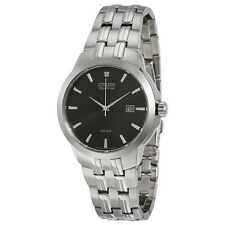 Citizen Eco-Drive Black Dial Stainless Steel Mens Watch BM7090-51E