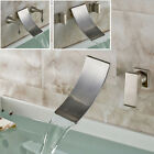 Nickel Brushed Basin Sink Faucet Wall Mounted Waterfall Spout Bathroom Mixer Tap