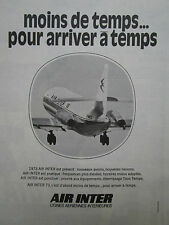 1973 PUB COMPAGNIE AERIENNE AIR INTER AIRLINE CARAVELLE AIRLINER FRENCH AD