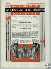1938 PAPER AD Montague Split Bamboo Fishing Rod Trail Fly Salt Water