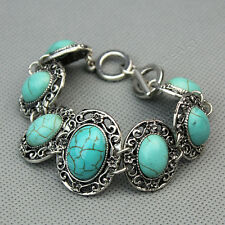 Vintage Round Carved Tibet Silver Flower Turquoise Beads Gemstone Chain Bracelet