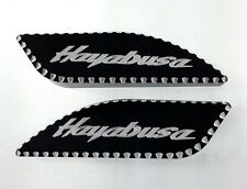 99-07 Hayabusa Black/Silver Pocket Engraved Side Gas Tank Pads w/Ball Cut Edges!