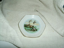 SMALL PORCELAIN SIX SIDED DISH GOLD TRIM CENTER PICTURE WILD DUCKS - JAPAN