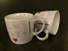 Starbucks things i love coffee tea mug white red heart cup espresso 8oz set of 2