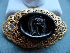 FREIRICH Sign Victorian Revival  Gold Tone Brooch Black carved Stone