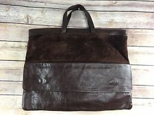 Brazilian Suede Leather Tote Handle Purse Bag Brown Pockets 15x12""