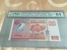 1976 Singapore Bird $10 note .Solid 444444 PMG 64