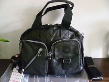 New Kipling Defea Black Tree Leaf Veins HandShoulderX Bag+ Fluffy Monkey
