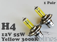 2x H4 60W / 55W 3000K 12V Yellow Halogen High/Low Beam Head Light Globes Bulbs