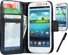 Estuche Billetera de Cuero Negro Para Samsung Galaxy S3 Caja Cover Protector