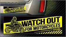 Watch Out for Motorcycles Vinyl Sticker (3 x 10) Motorcycle Awareness Designs