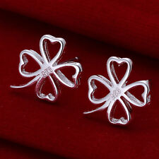Hot Women 1 pair Plated 925 Silver 4-Leaf Clover Stud Earrings HQ