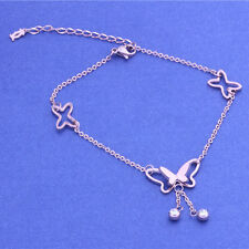 Classic Chain Women Sexy Barefoot Anklet Gold Silver Drop Crystal Ankle Bracelet