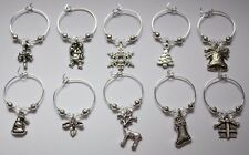 10 Wine Glass Charm Rings CHRISTMAS with SWAROVSKI Crystal Christmas Wedding