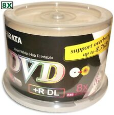 50-Pak RITEK/RIDATA Double-Layer =WHITE INKJET HUB PRINTABLE= 8X 8.5GB DL DVD+Rs