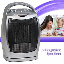 Electric Ceramic Space Heater Oscillating Fan Portable, Adjustable Thermostat