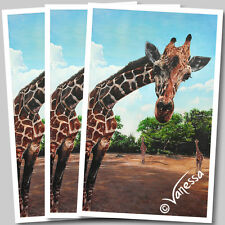 Limited Edition A3 Signed Wildlife Art Print Painting of Giraffe Safari Animals