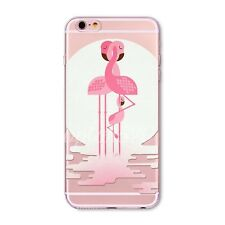Colorful Flamingos Printed Clear TPU Case Cover For iPhone 4S SE 5S 5C 6 6S Plus