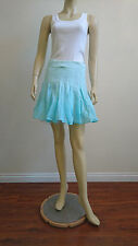 Bebe $89 S Pleated Blue Cotton Gauze Dip Dye Ombre Full Skirt Tulle Ballet New