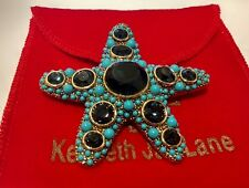 Estate KJL Kenneth Jay Lane Starfish Pin Brooch Blue Stone Turquoise Gold Tone