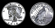 Peace dollar hand carved 1 oz .999 silver divided states of America skull coin