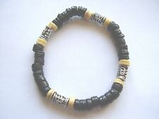 Black & cream coco wood & silver bead stretch surf style bracelet Fair Trade