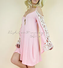 Pink Crochet Lace OFF SHOULDER Bell Sleeve Long Tunic Shift Boho Tunic Dress L
