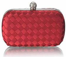 Red Hard Case Clutch Bag Satin Diamante Wedding Races Prom Party Evening Bag