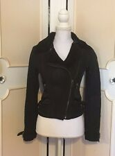 AX ARMANI EXCHANGE WOMEN'S SUEDE & SATIN LEATHER MOTO JACKET WITH FUR COLLAR!~XS