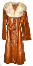 Vintage 70s Sears Brown Leather Fluffy Large Norwegian Fox Fur Collar Coat Sz 16