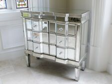 Venetian Mirrored & Distressed Antique Silver Six Drawer Chest Of Drawers