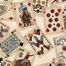 Fabric Western Town Cowboy Poker Cards on Tan Cotton by the 1/4 yard BIN