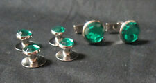 NEW Green Silver Tuxedo Cufflinks Shirt Formal Studs Set Tux Cuff Links Buttons
