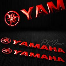 "2x 5.75"" x 1"" 3D ABS Emblem Decal Logo+Letter Polished/Gloss Sticker Yamaha Red"