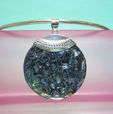 "2"" Natural Abalone Shell Round Handmade Pendant 925 Sterling Silver Bali Design"