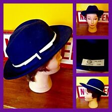 Vintage 60's 70's C&A Navy Wool Fedora Trilby Hat Mod Carnaby