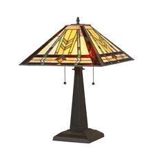"Tiffany Style Stained Glass Mission 2 Light Table Lamp 16"" Shade Handcrafted New"