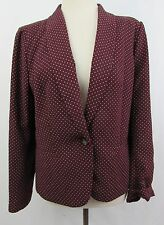 New Ann Taylor LOFT Maroon Red crepe jacket with peach polka dot XL 16