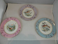 CF Haviland Limoges Hand Painted  19th Century Fish and Bird Plates