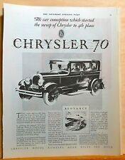 "1927 magazine ad for Chrysler - Chrysler ""70"" graphic, Buoyancy"