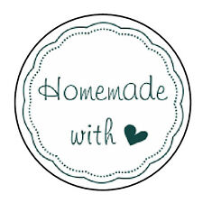"24 PERSONALIZED HOMEMADE WITH LOVE FAVOR LABELS ROUND STICKERS 1.67"" *"