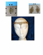 Classic Chainmail Headband Circlet Necklace Purple Gem Gold-toned bonus earrings